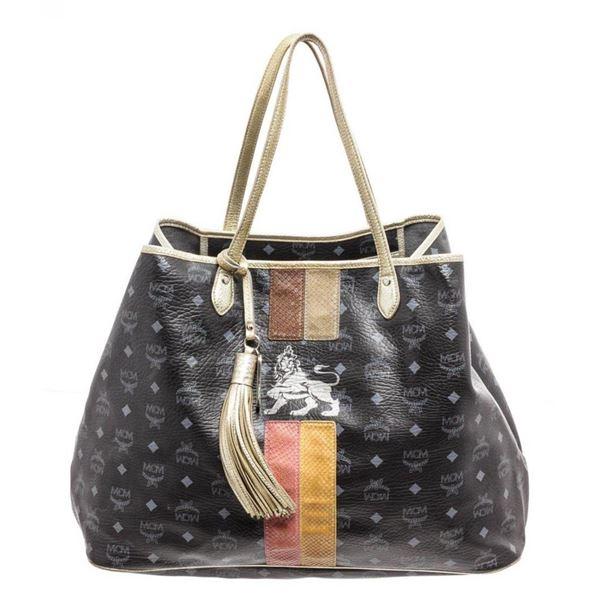 MCM Black Visetos Coated Canvas Lion Shopper Tote Bag