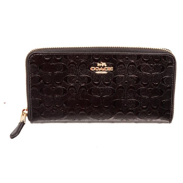 Coach Black Debossed Logo Leather Zippy Wallet