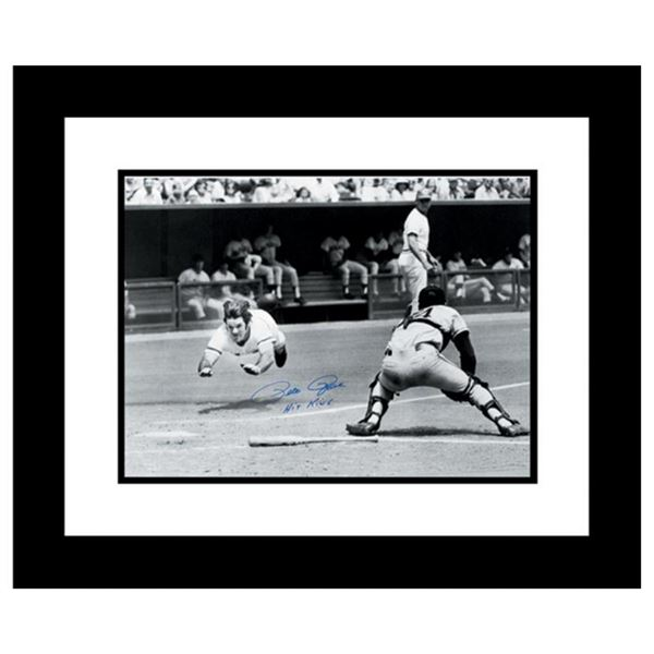 """""""Pete Rose Diving"""" Archival Photograph Taken on July 30, 1972, Autographed by Pe"""