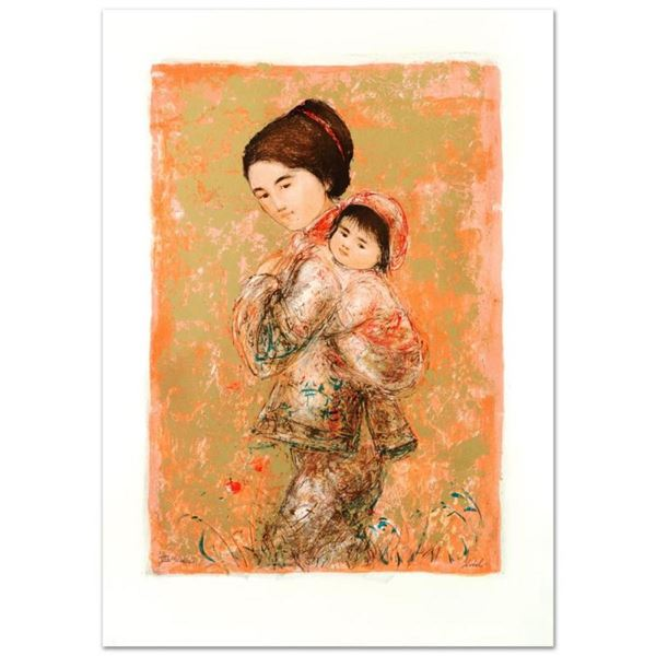 """""""Morning Stroll"""" Limited Edition Lithograph by Edna Hibel, Numbered and Hand Sig"""