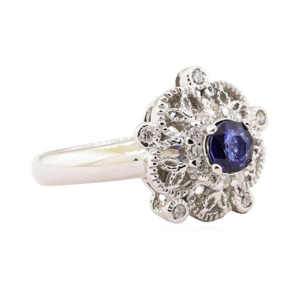 0.88 ctw Blue Sapphire And Diamond Ring - 14KT White Gold