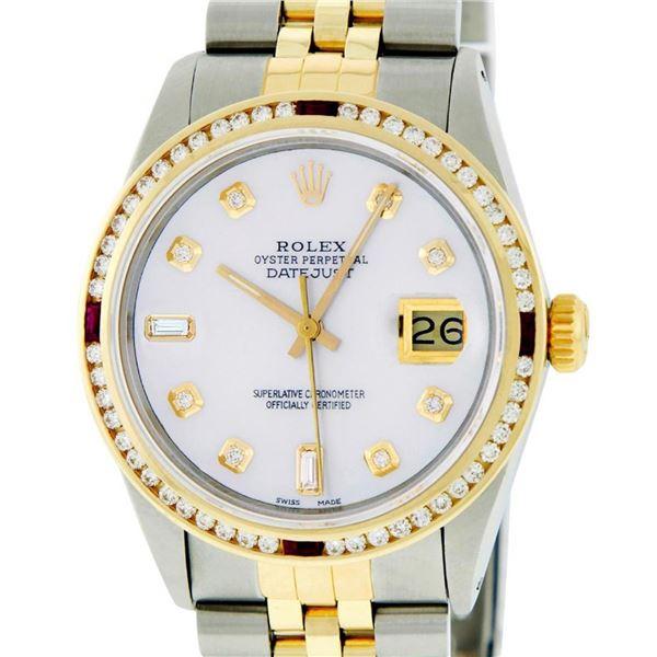 Rolex Mens 2 Tone MOP Ruby Diamond Channel Set Datejust Wristwatch