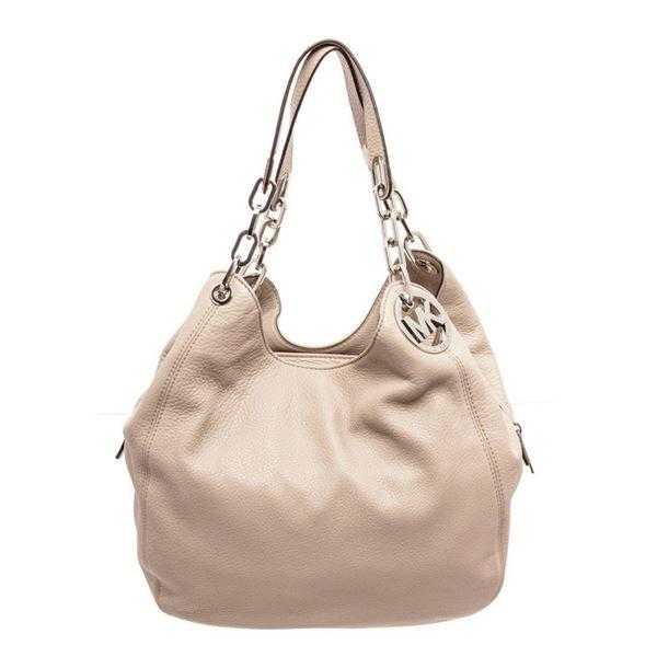 Michael Kors Beige Leather Fulton Hobo Bag