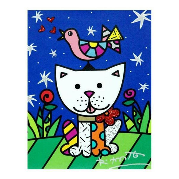 """Romero Britto """"Pals"""" Hand Signed Limited Edition Giclee on Canvas; Authenticated"""