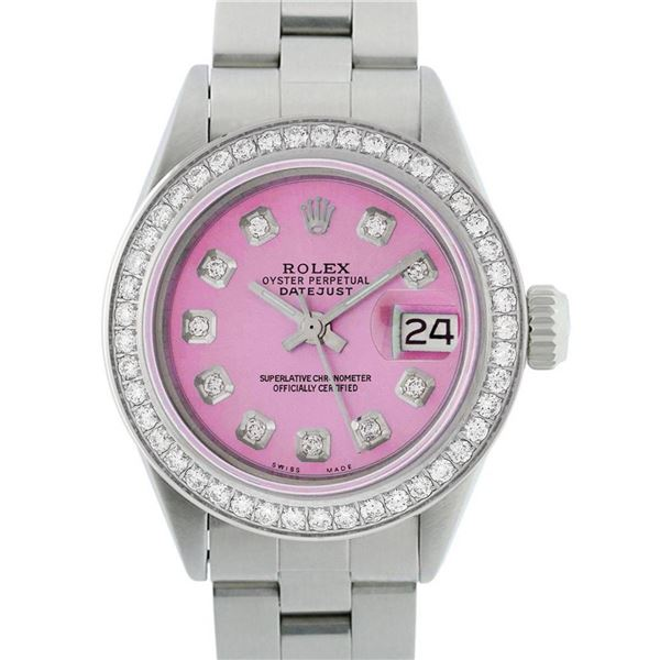 Rolex Ladies Stainless Steel Pink Diamond 26MM Oyster Perpetual Datejust