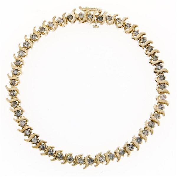 "10K Yellow Gold 1.80 ctw 7.75"" Round Brilliant Diamond ""S"" Link Tennis Bracelet"