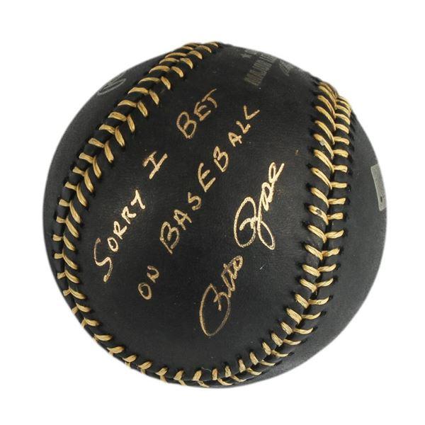 "Autographed Pete Rose ""I'm Sorry"" Black Baseball"