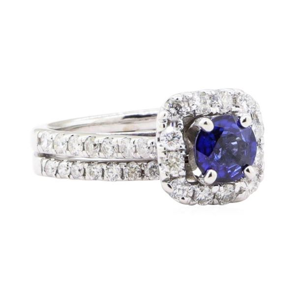 1.66 ctw Sapphire And Diamond Ring And Attached Band - 14KT White Gold