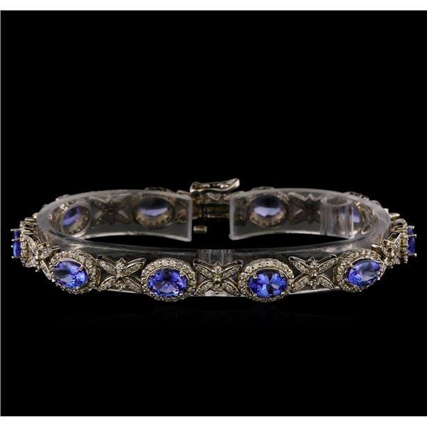 14KT White Gold 7.90 ctw Tanzanite and Diamond Bracelet