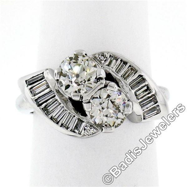 Art Deco Platinum 1.48 ctw Old European and Baguette Cut Diamond Bypass Ring