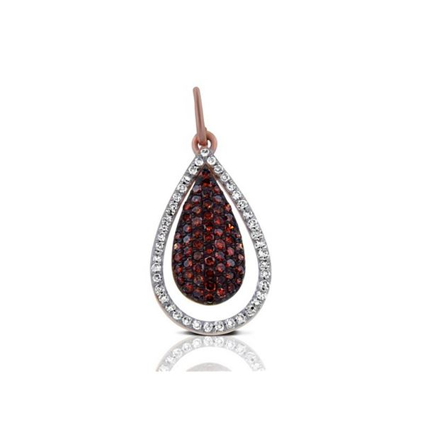 14k Rose Gold  0.36CTW Diamond and Brown Diamonds Pendant