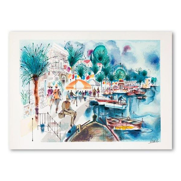 """Shmuel Katz (1926-2010), """"Tiberias"""" Hand Signed Limited Edition Serigraph on Pap"""