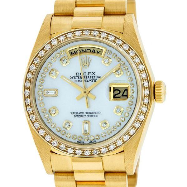 Rolex Mens 18K Yellow Gold MOP String Diamond Quickset President Wristwatch
