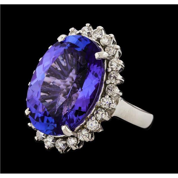 14.43 ctw Tanzanite and Diamond Ring - 14KT White Gold