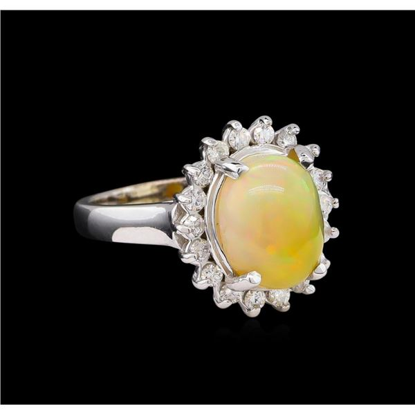 3.07 ctw Opal and Diamond Ring - 14KT White Gold