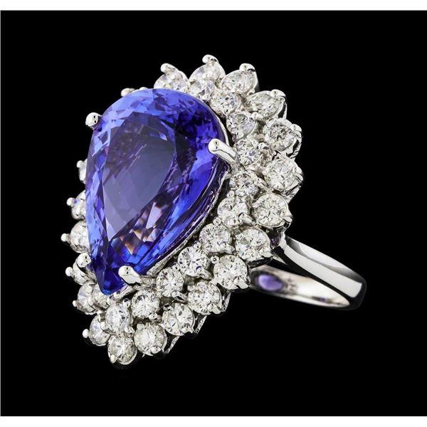 GIA Cert 12.13 ctw Tanzanite and Diamond Ring - 14KT White Gold