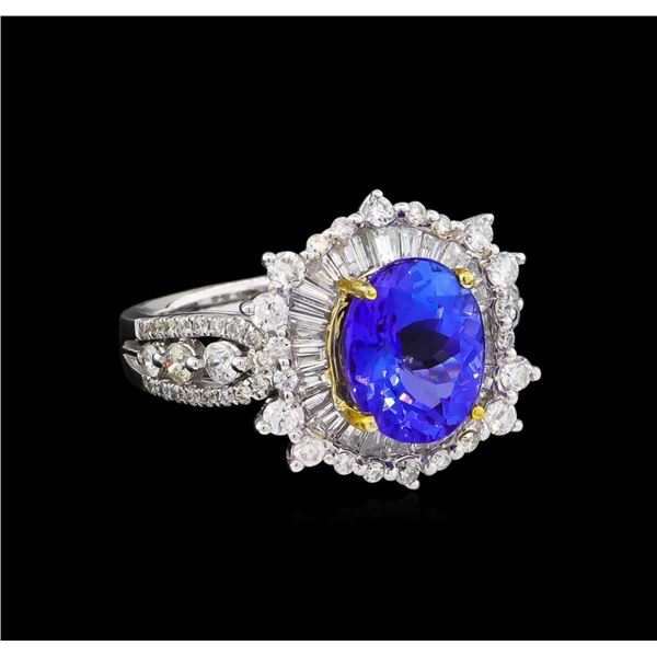 14KT Two-Tone Gold 3.15 ctw Tanzanite and Diamond Ring
