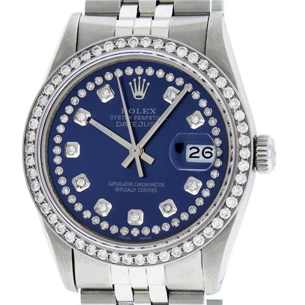 Rolex Mens Stainless Steel Blue String Diamond 36MM Datejust Oyster Perpetual Wr