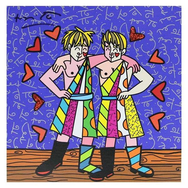 """Britto, """"Gemini Boys (White)"""" Hand Signed Limited Edition Giclee on Canvas; Auth"""