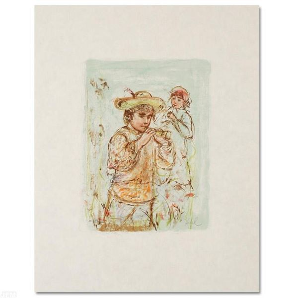 """""""Boy with Horn"""" Limited Edition Lithograph by Edna Hibel (1917-2014), Numbered a"""