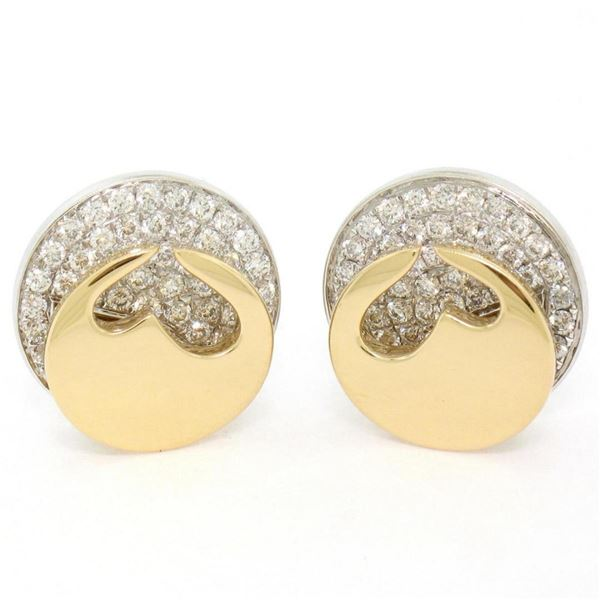 Movado 18K Two Tone Gold 1.80 ctw FINE Round Diamond & Heart Disk Button Earring