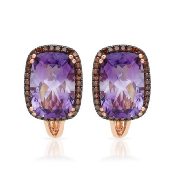 14k Rose Gold  7.10 ctw Amethys and Diamond Earrings