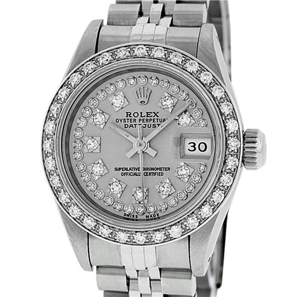 Rolex Ladies 26 Stainless Steel Slate Grey Diamond 26MM Datejust Wristwatch