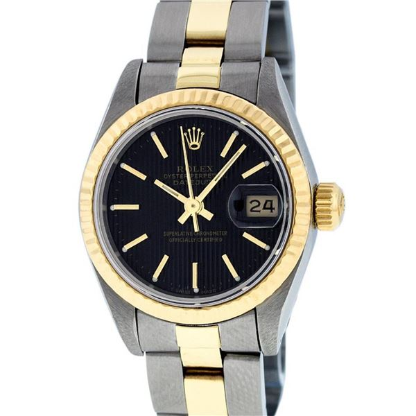 Rolex Ladies 2T 26 Black Index Tapestry Datejust Oyster Band Wristwatch Serviced