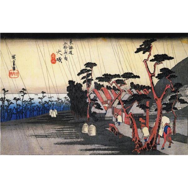 Hiroshige Rain on a Town by the Coast