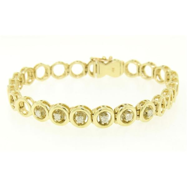 14k Solid Yellow Gold Round Brilliant Diamond Circle Open Link 7 Inch Bracelet