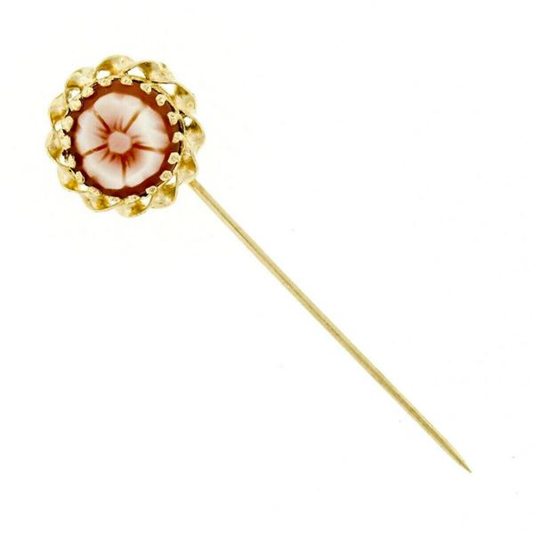 Vintage 14kt Yellow Gold Round Flower Carved Cameo Stick Pin