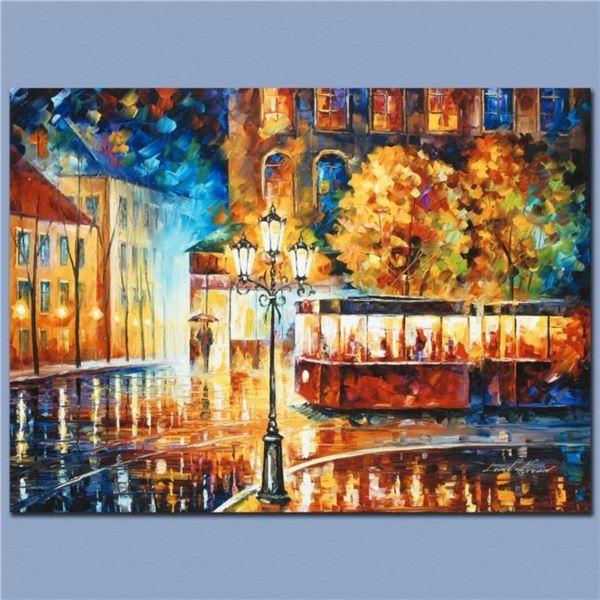 "Leonid Afremov (1955-2019) ""Night Trolley"" Limited Edition Giclee on Canvas, Num"