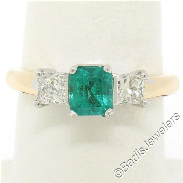14K Yellow & White Gold 1.36 ctw Colombian Emerald Princess Diamond 3 Stone Ring