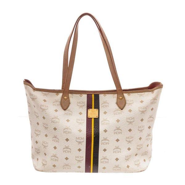 MCM White Shopper Tote Bag