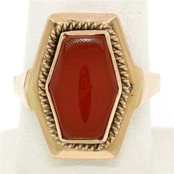 Vintage Russian 14kt Rose Gold Bezel Set Carnelian Hexagon Ring