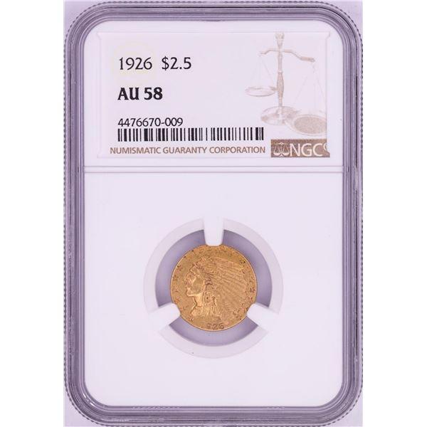 1926 $2 1/2 Indian Head Quarter Eagle Gold Coin NGC AU58