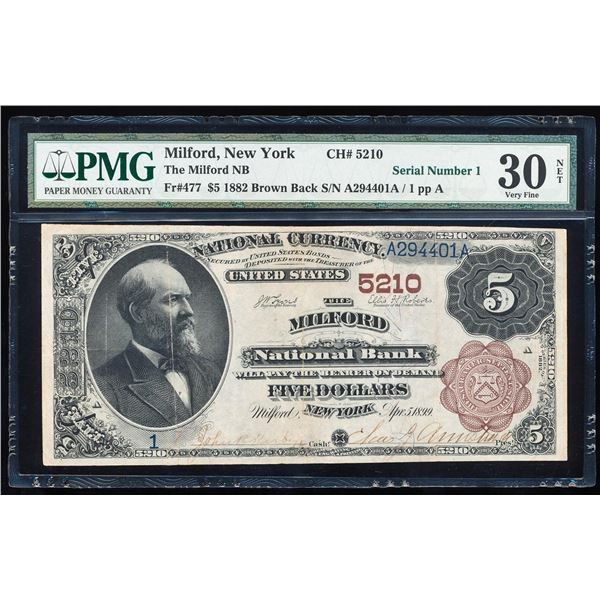 Serial Number 1 - 1882BB Milford, NY National Currency Note PMG Very Fine 30 NET