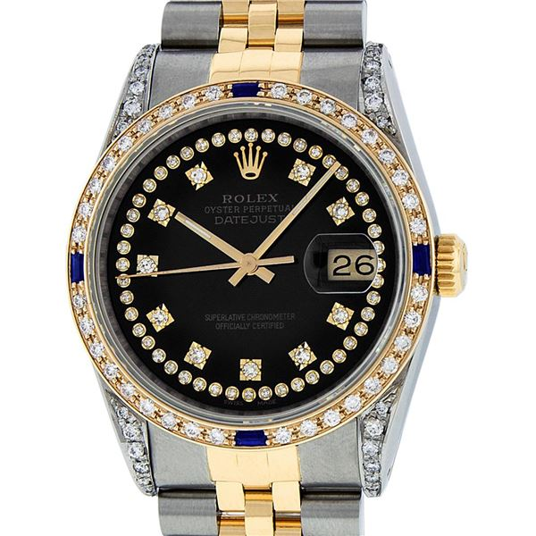 Rolex Men's Two Tone Steel & Gold Black Diamond String & Sapphire Datejust Wristwatch