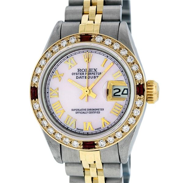 Rolex Ladies Two Tone Pink MOP Diamond & Ruby Oyster Perpetual Datejust Wristwatch