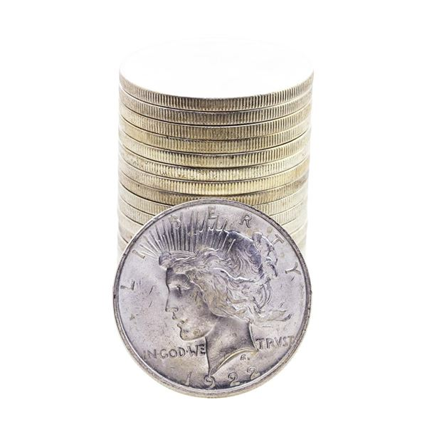 Roll of (20) Brilliant Uncirculated 1922 $1 Peace Silver Dollar Coins