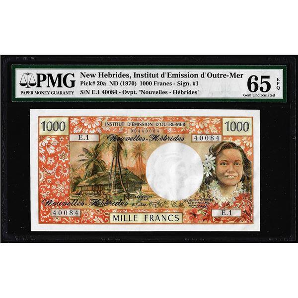 1970 New Hebrides Institut D Emission D Outre-Mer 1000 Francs Note Pick# 20a PMG Gem Uncirculated 65