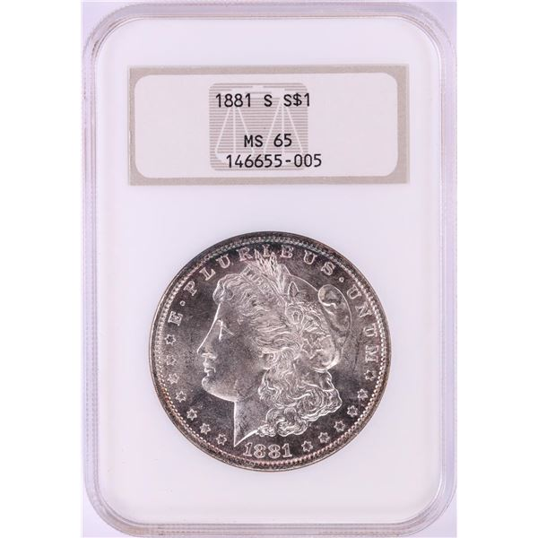1881-S $1 Morgan Silver Dollar Coin NGC MS65 Old Fatty Holder