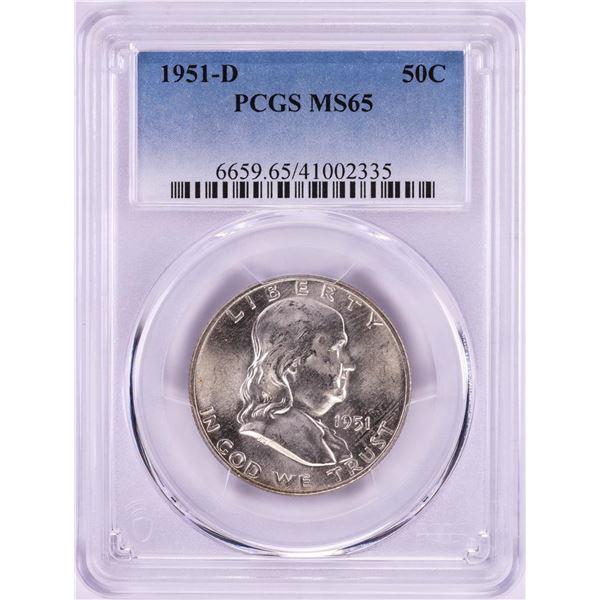 1951-D Franklin Half Dollar Coin PCGS MS65