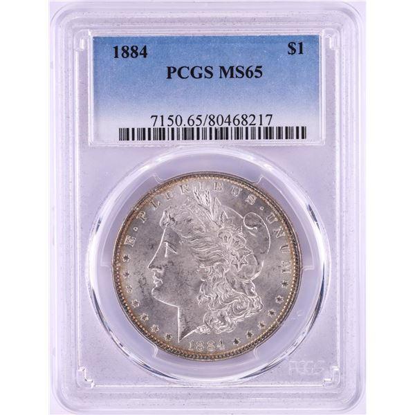 1884 $1 Morgan Silver Dollar Coin PCGS MS65