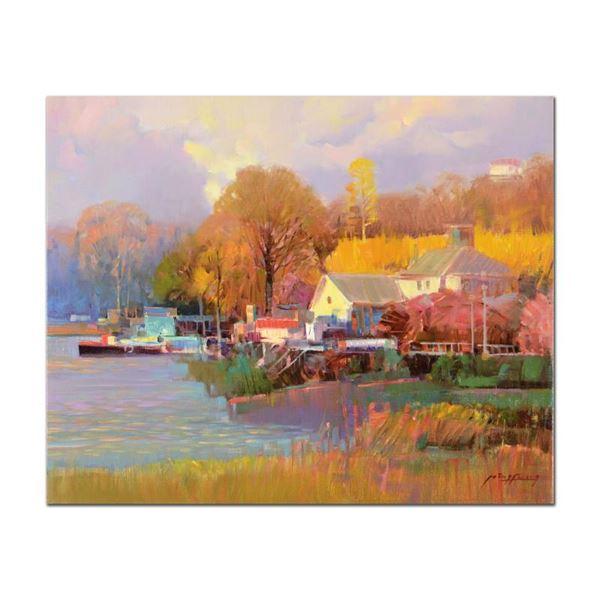 "Feng ""Summer House Dock"" Original Oil on Canvas"