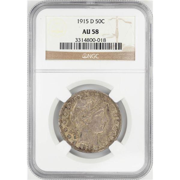 1915-D Barber Half Dollar Coin NGC AU58