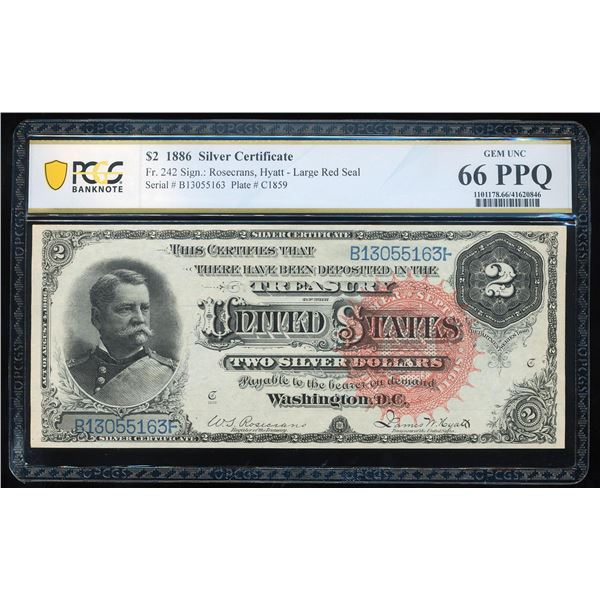 1886 $2 Silver Certificate Note Fr.242 PCGS Gem Uncirculated 66PPQ