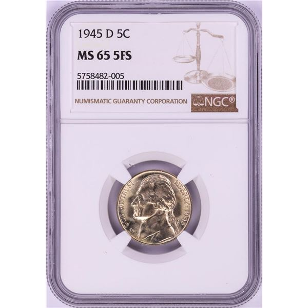1945-D Jefferson Nickel Coin NGC MS65 5FS