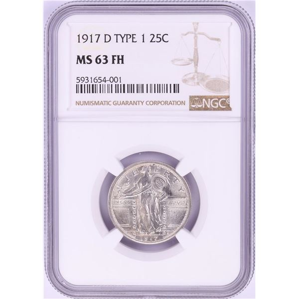 1917-D Type 1 Standing Liberty Quarter Coin NGC MS63FH