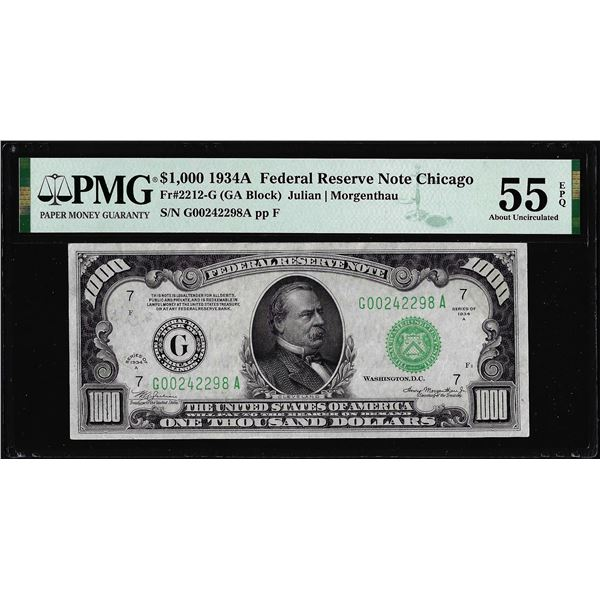 1934A $1,000 Federal Reserve Note Chicago Fr.2212-G PMG About Uncirculated 55EPQ